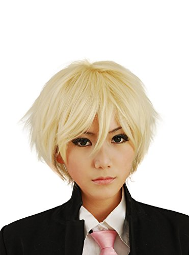 HH Building Cosplay Wig Men's Short Layered Halloween Costume Hair Wig (Blonde) -