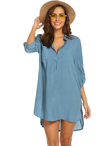 (Ekouaer Women's Bathing Suit Cover Ups Beach Dress Shirt 3/4 Roll Sleeve Beachwear)