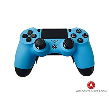 Image of Games PS4 Slim Wireless Controller for Playstation 4 - Custom AimController Blue Matt with 4 Paddles. Upper Left Square, Lower Left X, Upper Right Triangle, Lower Right O