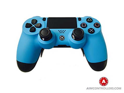 - PS4 Slim DualShock Custom Playstation 4 Wireless Controller - Custom AimController Blue Matt with 4 Paddles. Upper Left Square, Lower Left X, Upper Right Triangle, Lower Right O