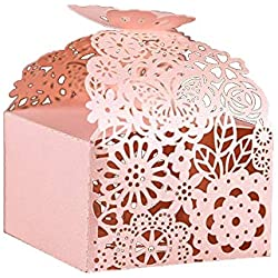 "KAZIPA 50pcs Laser Cut Favor Boxes, 2.6"" x 2.6"" x 1.6"" Floral Favor Boxes, Party Favor Boxes for Bridal Shower Anniverary Wedding Party Favor, Pink"