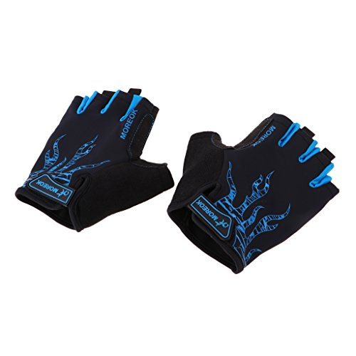 D DOLITY Half Finger Cycling Gloves Sports Racing MTB Bicycle Short Gloves for Road Bike, Mountain Biking, Riding, Gym, Fitness - Blue, L