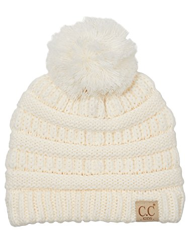 H-6847-25 Children's Pom Beanie - Ivory (Pop Outfits)