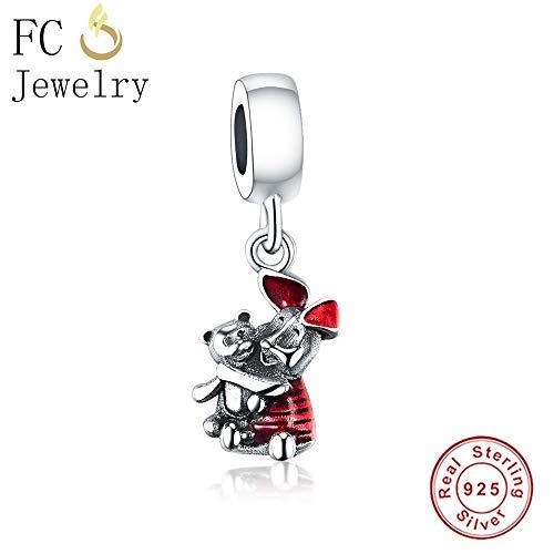 Sterling Silver Animal Piglet Red Bear Best Friends Pendants & Necklaces | Women's Choker