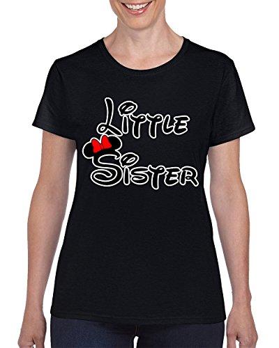 Minnie Little Sister Fashion Cool Disney T-shirt for Women Round Neck Tee Shirt(Black,Medium)