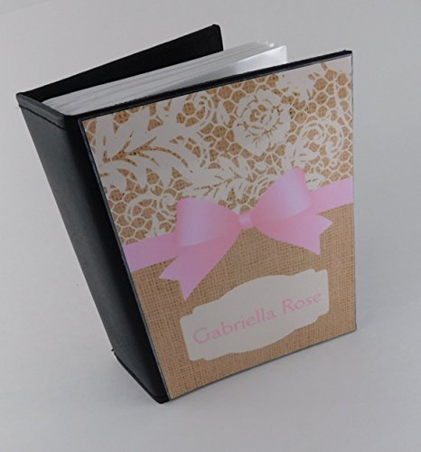 Baby Photo Album 603 100 4x6 Pictures Girl Scrapbook PRINTED Burlap and lace with Pink Bow Personalized Bow COLOR CHOICES