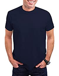 Cotton T-shirt Solid Basic T-Shirt O Neck T-Shirt Comfy Short Sleeve Tee for Men