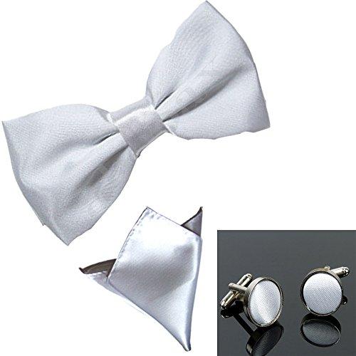 Satin Sendmart Bow Pocket Plain Silver Cufflink Square tie Pre Tied wtqBP7nrtI
