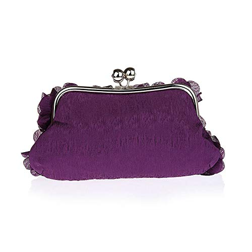 Clutches Purple Evening Lady Rabbit Cosmetic Banquet Evening Women Bag Handbags Flower Lovely Silk BZf7wxq78
