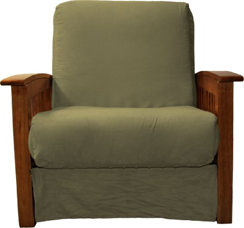 Brentwood Mission-Style Perfect Sit & Sleep Pocketed Coil Inner Spring Pillow Top Chair Sleeper Child Size Bed, Chair-size, Walnut Arm Finish, Microfiber Suede Olive Green Upholstery