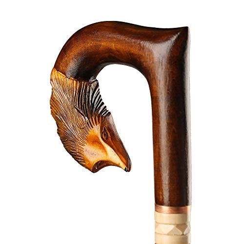 - Orsus Wooden Walking Cane for Women Walking Stick Fox Hand Carved Stick 36