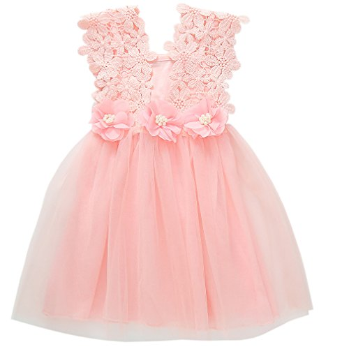 Niyage Toddler Girls Flower Crochet Lace Straps Tutu Dress with Tulle Skirt 4T -