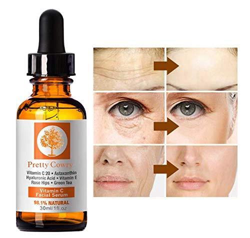 Facial Vitamin C Essence, 2019 Hyaluronic Acid Serum, Acne Clarifying Serum Hyaluronic Acid, Anti Aging Serum,Wrinkle Serum,Dark Spot Remover, Facial Pure Serum for Women & Men (Best Vitamin C For Face 2019)
