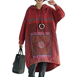 YESNO JCJ Women Casual Loose Ethnic Floral Hoodies Sweatshirts Jackets Long Sleeve/Pockets