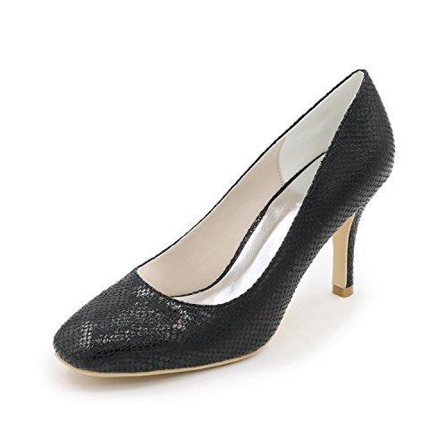 L@YC Frauen Hochzeitsschuhe High-Heels Schuhe Leder / Dinner / Party / Party / Multi-Color / Large Size Black