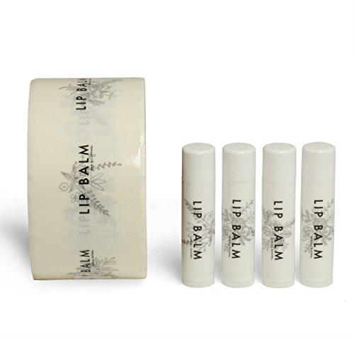 120 Pack - Transparent Vinyl Lip Balm Labels, 5 Unique Designs, Chapstick Stickers, 120 Labels per Roll, Excellent for Lip Balm, Homemade Chapstick, Lip Balm Tubes - Label Tube