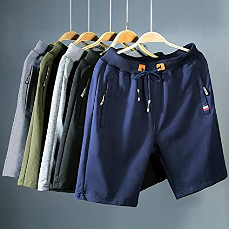 Big Boys Casual Shorts Summer Cotton Classic Fit Elastic Waist Shorts with Zipper Pockets