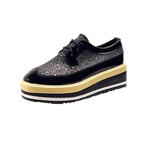 Platform CYBLING Shoes height Casual Increasing Sequins Square Black Women's Toe Up Lace Oxford xFSqrFBEw