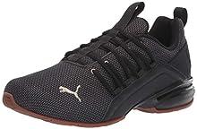 PUMA Men's AXELION Sneaker, Black-Metallic Gold, 14 M US