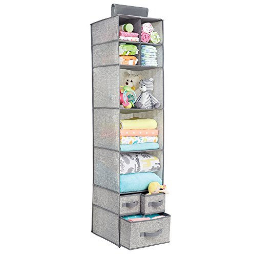 Over Closet Rod Hanging Storage Organizer with 7 Shelves and 3 Removable Drawers for Child/Baby Room or Nursery - Textured Print - Gray ()
