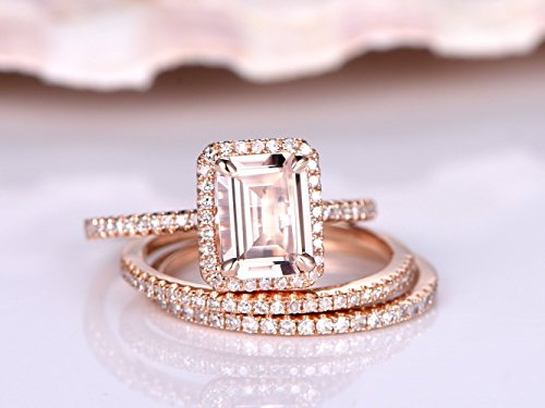 5x7mm Emerald Cut Natural Pink Morganite Stone Halo Claw Prong Engagement Ring Set,Solid 14k Rose Gold,2 Half Eternity Diamond Wedding Stacking Matching Promise Propose Band Sets Vintage Women Rings - Gold Half Eternity Diamond