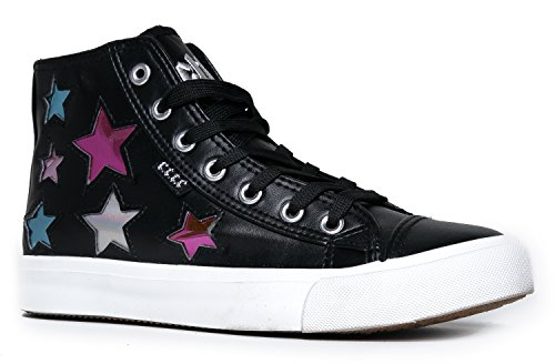 High Top Lace Up Embellished Sneaker - Casual Walking Metallic Star Shoe - Klutch by Cute to the Core, Star Black, 8 B(M) US