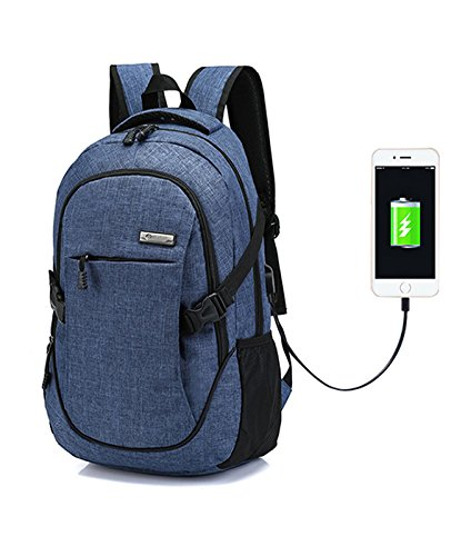 Backpack Laptop Backpacks Hoperay Business Lightweight Nylon Water Resistant Multipurpose Shoulder Notebook Backpacks with USB Charging Port Under 17-Inch Laptop and Notebook (Blue)