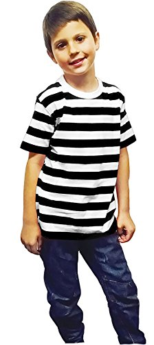 Rimi Hanger Unisex Red and White Striped Cotton T Shirt Ladies Short Sleeve Fancy Top Black White 9-10 Years