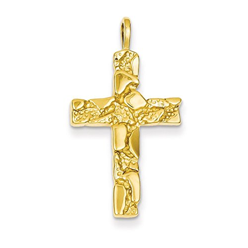 Lex & Lu 14k Yellow Gold Nugget Cross Pendant-Prime -
