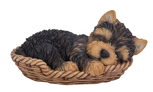 Figurine Collectible Dog (Pacific Giftware Yorkie Puppy in Wicker Basket Pet Pals Collectible Dog Figurine 6.5 Inches L)