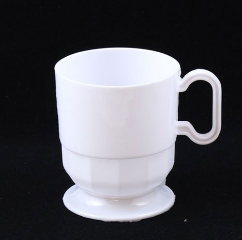 192 Count Exquisite Frosted Plastic Coffee Cup Mugs - 8 oz Cup - White
