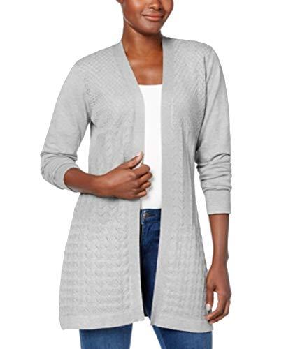 Karen Scott Petite Cardigan Sweater (Smoke Grey Heather, P/S)