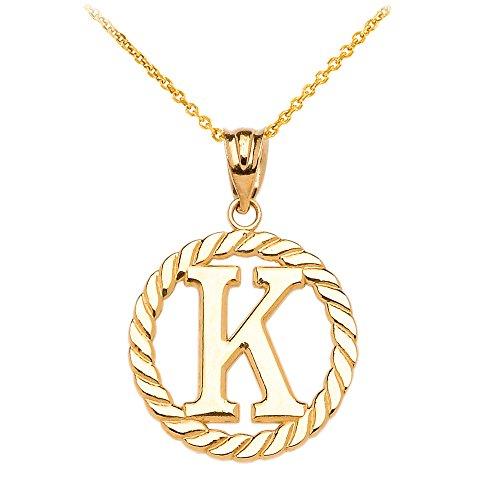 """Collier Femme Pendentif 10 Ct Or Jaune """"K"""" Initiale À Corde Cercle (Livré avec une 45cm Chaîne)"""