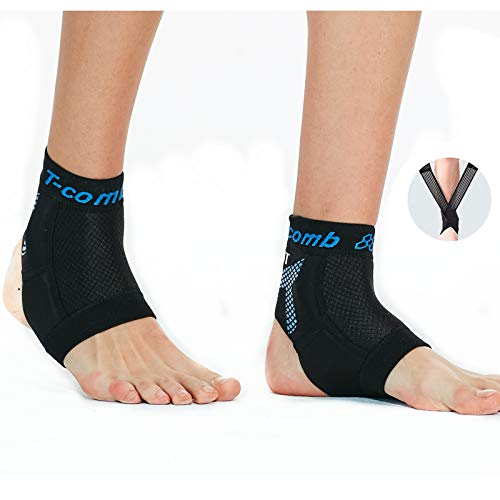 Breathable Anti-Slip Ankle Brace Compression Sleeve for Men and Women, Sprain, Pain, Running, Basketball, Soccer, Sports, Ankle Support Wrap (Black Brace with Straps, L)
