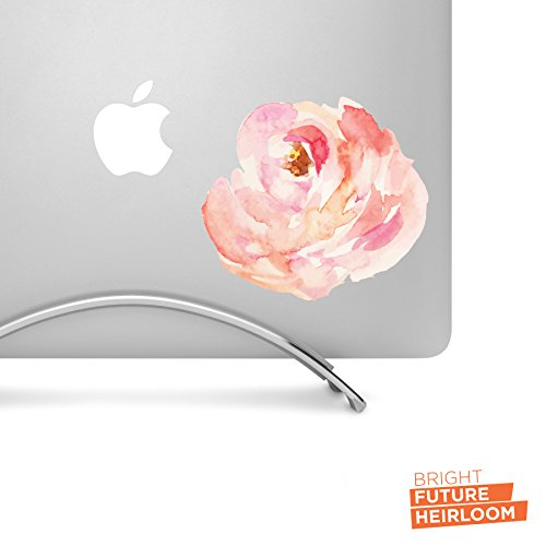 Peach Watercolor Peony 01-5 Inch Wide Printed Decal - Pretty Floral Decal For Macbook, Laptops, Tablets And More!