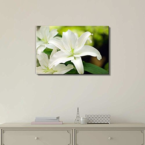 Close Up of White Lily Floral Flower Photograph Wall Decor