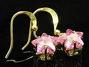 Pink Sapphire 18K Gold Plated Star Cut Earrings (45)