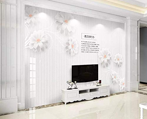 Wall Mural 3D Simple and Stylish Three-Dimensional Embossed Flowers White Wallpaper 3D Large Murals Modern Living Room Bedroom Wall Decoration