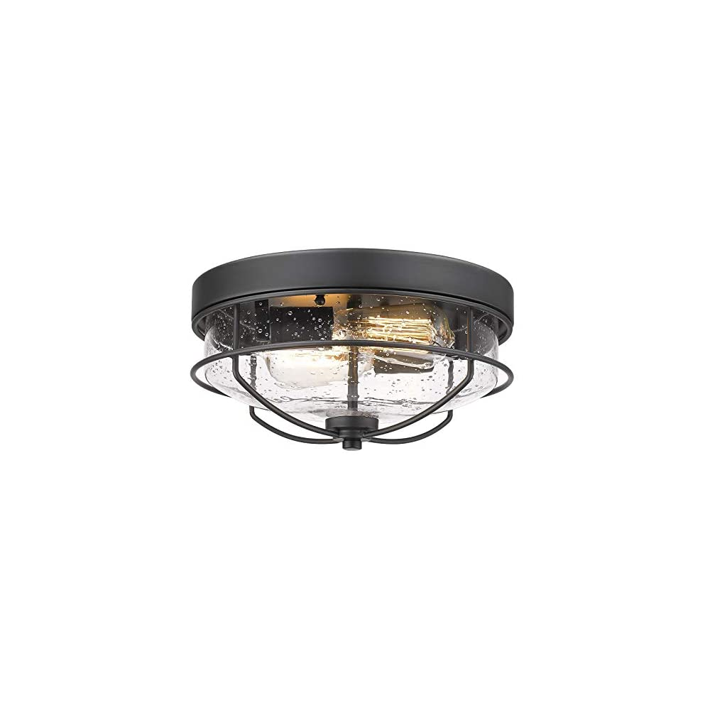 Flush Mount Ceiling Light Fixtures, HWH 12 inch 2-Light Farmhouse Close to Ceiling Light Fixture with Seeded Glass Shade…