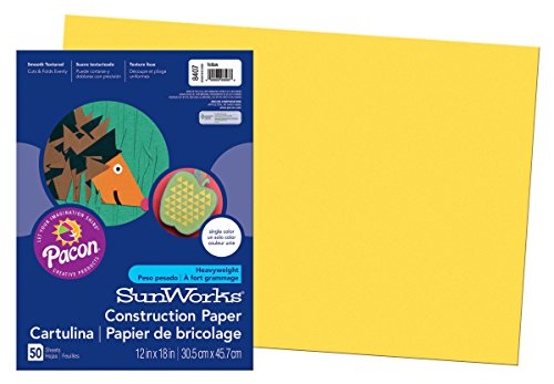 Price comparison product image Pacon SunWorks Construction Paper,  12-Inches by 18-Inches,  50-Count,  Yellow (8407)