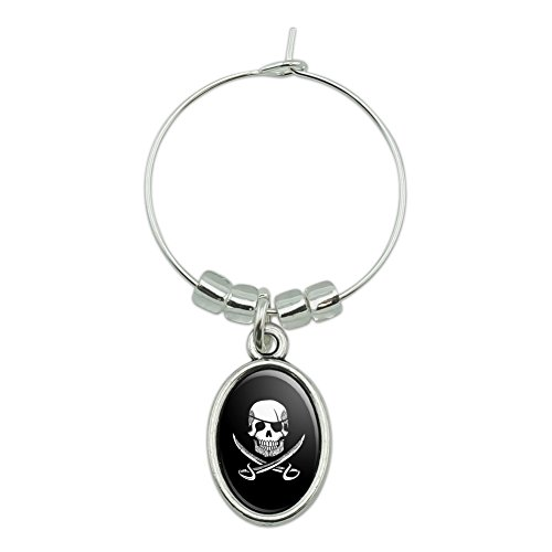 (Pirate Skull Crossed Swords Tattoo Design Wine Glass Oval Charm Drink)