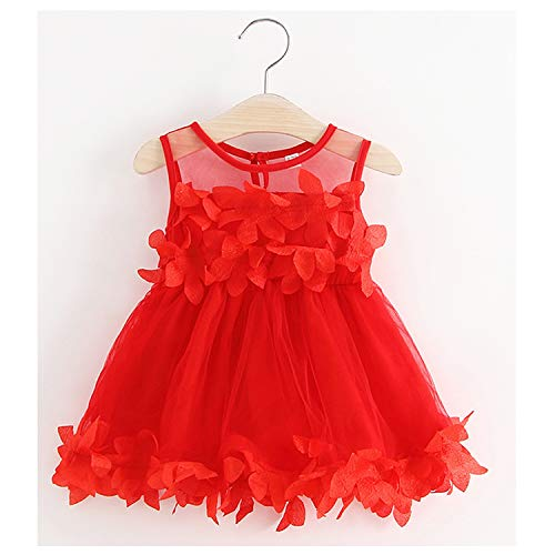 TTMOW Toddler Baby Girl Cute Floral Patterned Sleeveless Sleeve Petal Stitching Mesh Skirt Dresses Red