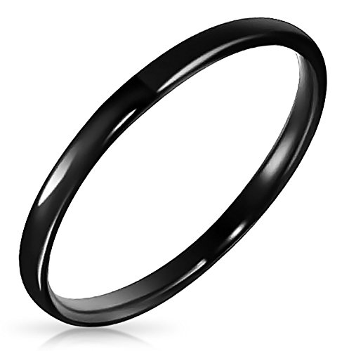 Halloween Jewelry Tungsten Black Unisex Ring 2mm,Black,9
