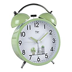 JUSTUP Silent Table Clock,4-Inch Mini Non-Ticking Vintage Classic Analog Alarm Clock with Backlight,Battery Operated Travel Clock, Loud Twin Bell Alarm Clock for Kids (Green)