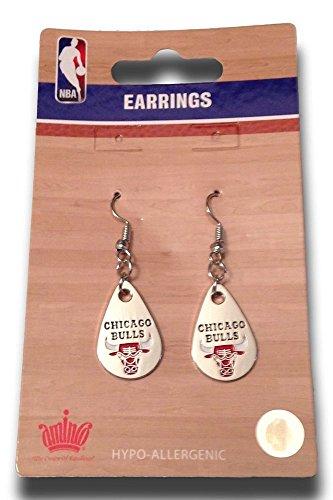 NBA Officially Licensed Chicago Bulls Silver Teardrop Style Dangle Earrings (Chicago Bulls Earrings For Men)