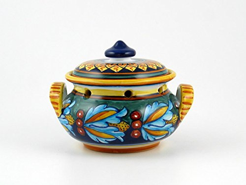 Hand Painted Italian Ceramic Garlic Jar Geometrico 39E - Handmade in Deruta by Eugenio Ricciarelli
