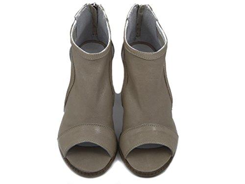 OSVALDO PERICOLI Sandalo Accollato in Pelle Beige, Tacco 8cm, AN240 E17