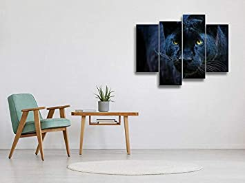 Black Panther Canvas Wall Art Hanging Paintings Modern Artwork Abstract Picture Prints Home Decoration Gift Unique Designed Framed 4 Panel