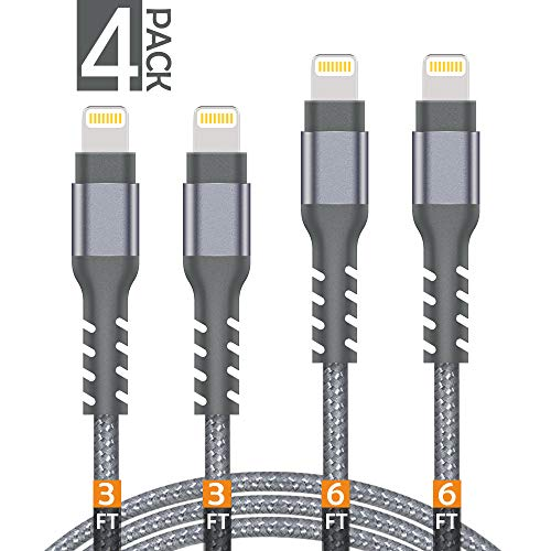 AHGEIIY Phone Charger Cable,4Pack [2x3FT 2x6FT] Nylon Braided Fast Charging 8-Pin to USB Cable Compatible iPhone X, 8,7,6,6s Plus, 8, 7, 6, 6s, iPad,iPod and More - Grey