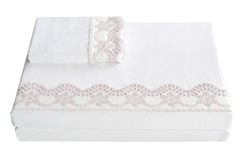 Merryfeel Cotton Sheet Set,100% Cotton Sateen 300 Thread Count Embroidered Lace Sheet Set - King